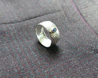 Art Deco Sapphire Ring, September Ring, Blue Silver Ring, Silver Sapphire, Boho Sapphire Ring, Sterling Silver Ring, 925 Silver Ring