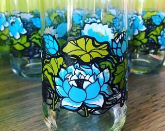 Vintage Blue Floral Glassware Set