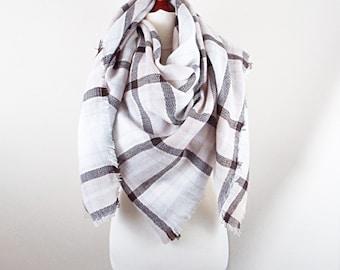 Blossom Plaid Blanket Scarf - spring scarf, plaid blanket scarf, oversized scarf wrap shawl, Zara scarf, gift for woman, bridesmaid shawl