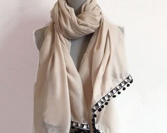 Art Deco Pom Pom Scarf, deco scarf pom pom scarf, pom pom shawl, pom pom, beige scarf, pashmina shawl, gift for woman, gift for her