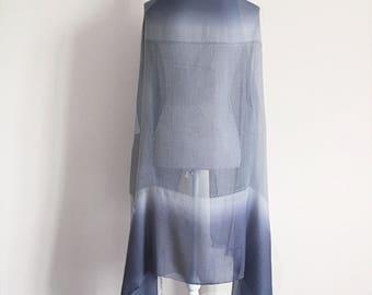 Grey Silk Shawl - silk scarf, silk shawl, grey silk, silk sarong, bridesmaid shawl, wedding shawl, bridal shawl, gift for her gift for woman