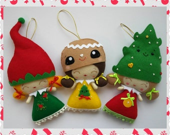 Ready to Ship - Set of Three Felt Christmas Dolls, Hanging Felt Christmas Figurines, Christmas Home Decoration