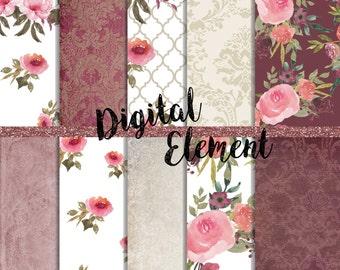Digital Watercolor Paper, Floral Scrapbook Paper, Peony Watercolor Paper, Shabby Pink Rose Paper, Scrapbook Printable Paper. No. P151