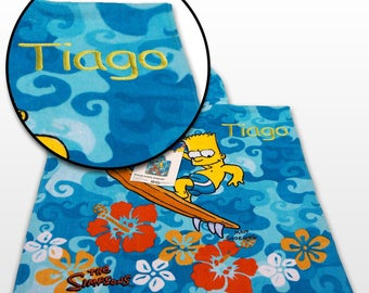 Kids Boys Gift - Personalized Beach Bath Pool Hooded Poncho Towel - The Simpson