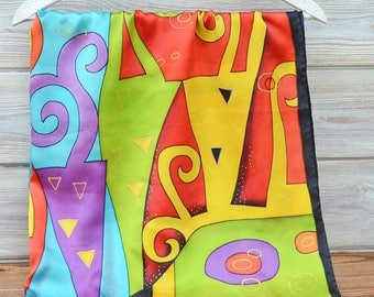 Hundertwasser Hand-painted exclusive one-of-a-kind silk satin purple gold summer scarf gift idea shawl 35x35 woman clothing present