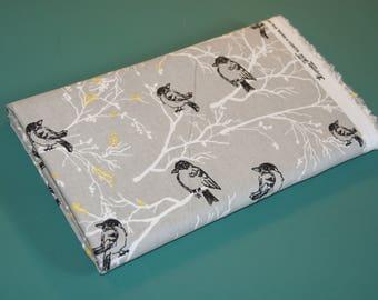 2 Yards Keepsake Calico Cotton Fabric Gray Birds on Branches NEW