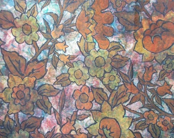 vintage, hand made, batik , floral, hand painted, fabric, 93 x 52