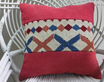 kilim patchwork pillow cover turkish pillows red color 16x16 accent chair aztec pillowcase body pillow cover pillows geometric pillow 2114