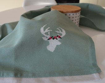 Dish towel with moose in cross stitch