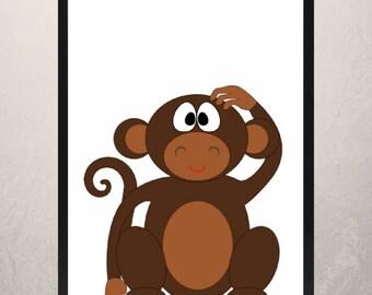 monkey print, digital monkey print, Nursery digital art, digital download, nursery wall decor, nursery wall print, jungle animal print