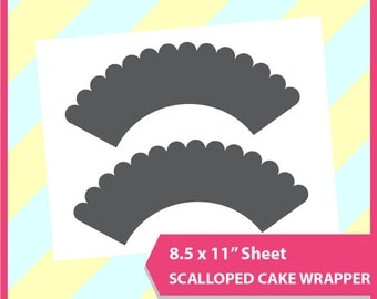 """Scalloped Cupcake Wrapper Template, PSD, PNG and SVG Formats,  8.5x11"""" sheet,  Printable 001"""