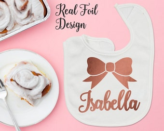 Personalized Name Rose Gold Baby Girl Bib