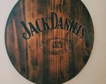 Any Logo or Design** Jack Daniel's Burned Wood Sign  - Barrel Head Like