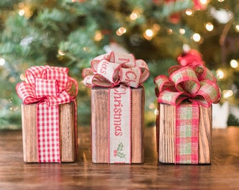 Rustic christmas decoration wood presents