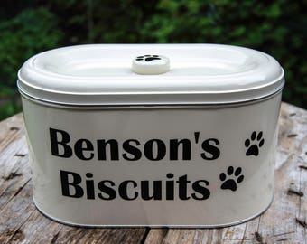 Personalised dog treat tin decals