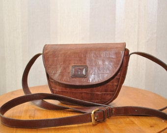 Vintage Etienne Aigner brown  genuine leather shoulder bag from 70s