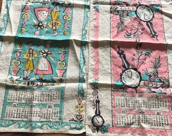 1959 fabric calendar- lot of two