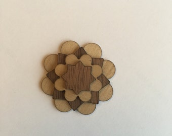 Maple and Walnut Wooden Lapel Flower - lapel pin - wooden lapel pin - wood flower - wedding accessories - coat lapel