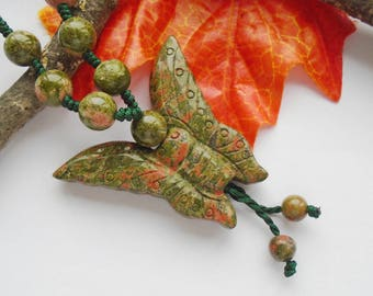 Unakite, butterfly, necklace, necklace, pendant