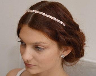 Thin Crystal Tiara, Swarovski Bridal Tiara, Thin Headpiece, Thin Tiara Headband, Simple Crystal Bridal Headband, Thin Tiara, Ref ROSE