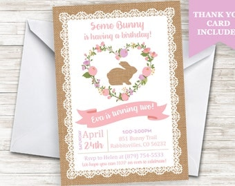 Some Bunny Invite Invitation Rabbit Girls Digital Personalized 5x7 Easter Themed Birthday Rustic Lace Burlap