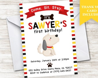 Dog Invite Invitation Puppy Doggy Birthday 5x7 Digital ANY AGE Personalized Kids Boys Stripes Red