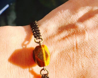 Tigers Eye Protection Bracelet - Antique Bronze Chakra Healing Jewelry