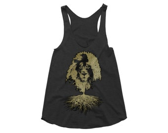 Womens Tank Top - Lion Graphic On Black/White Organic Cotton Tunic Style Vest, Ladies UK Streetwear - Personalised Clothing