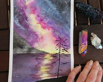 Northern lights original watercolor painting