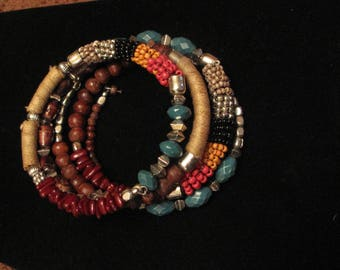 Vintage Colorful 1980's Multi-Colored Coil Bracelet-Glass & Wood Beads-Silvertone Beads-Cloth