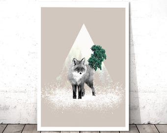 Fox Print, Woodlands Nursery Wall Art, Forest Animal, Kids Room Art, Nursery Wall Art, Woodland Animal Art Print, Animal Poster, Fox Art