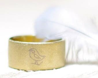 Golden band ring with singing bird Metal stamped chickadee Forest bird jewelry Bird watcher gift Bird memorial gift