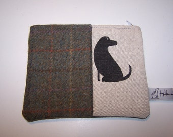 Black Labrador and tweed purse. Green tweed, green tartan, phone case, black lab fabric, gift for her, birthday gift, dog lovers gift
