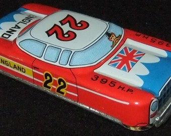 Racing car tinplate friction powered England vintage c1960s made in Japan