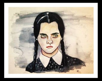 Wednesday Addams Family- Print of original watercolor painting