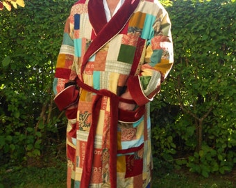 REDUCED for limited period:  Bilbo Baggins Patchwork Dressing Gown. Custom Order Hobbit Robe.