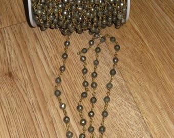 Wire Wrapped Round Pyrite Facted Chain, Antique Bronze Rsary Style Chain