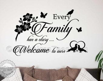 Family Wall Sticker, Every Family has a Story, Welcome to Ours, Home Wall Decal Sticker