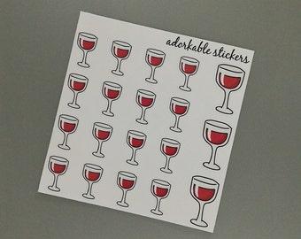 Red Wine Glass Glossy Stickers