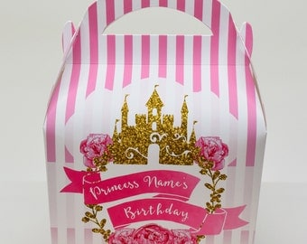 Princess Glitter Personalised Children's Party Box Gift Bag Favour