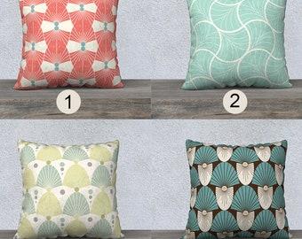 Art deco pillowcase,Geometric pillowcover,canvas pillow cover,velveteen pillow,vintage pattern pillowcase,coral,mint, turquoise,housewarming