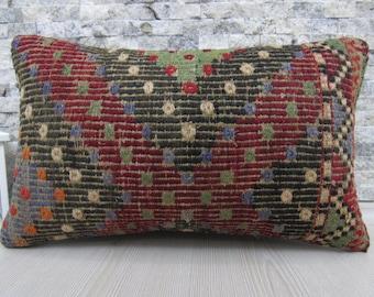 Turkey Pillow Decorative Pillow Boho Pillow Handmade Pillow Sofa Pillow Faded Color Turkish Pillow 12 X 20 Kilim Cushion Bohemian