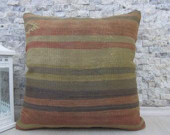 tribal pillow throw pillow 18x18 home decor pillow sofa pillow boho pillow 18x18 kilim pillowdecorative pillow turkey embroidery pillow