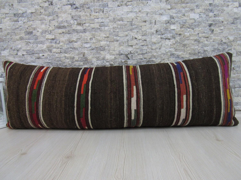 Natural Kilim Pillow 16 x 48 Organic Pillow Floor Pillow