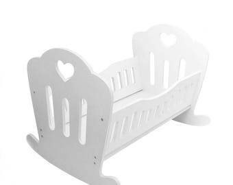 Wooden Doll Rocking Bed (Handmade) - White