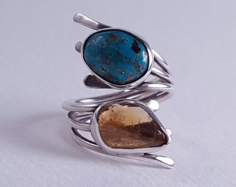 Women's Turquoise, Citrine Sterling Silver Ring - Adjustable Turquoise Ring - Adjustable Citrine Ring - Adjustable Silver Ring