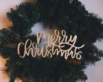 Laser Cut Wood Sign / Merry Christmas / Wreath / Holiday