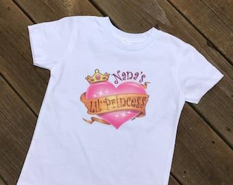 Nana's lil princess! Kids tshirts