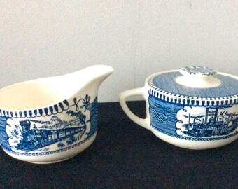 Royal China Currier & Ives Blue Creamer and Lidded Sugar Bowl