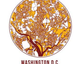 Washington Football - Community Color Map - Poster Print Wall Art- Neighborhood Fan